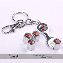 New Hot Sale Car Wheel Tire Valve Caps with Mini Wrench & Keychain For Mitsubishi (4-Piece/Pack)(China (Mainland))