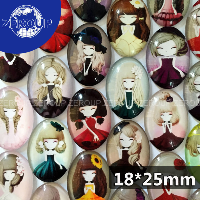 18*25mm Oval Glass Dome Cabochon Lovely Girl Pictures Mixed Pattern Fashion Ornament for DIY Flat Back Jewelry Finding 20pcs/lot(China (Mainland))