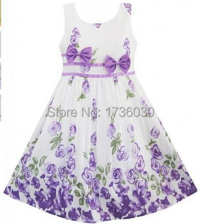 2015 Brand Spring Girls Bowknot Dresses Kids Clothing Cotton Infantis Clothing Summer Children Flowers Printed Dress G111765(China (Mainland))