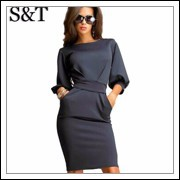 2015-Women-Office-Dresses-Half-Sleeve-O-neck-Summmer-Style-Casual-party- -vintage-Dress-Work