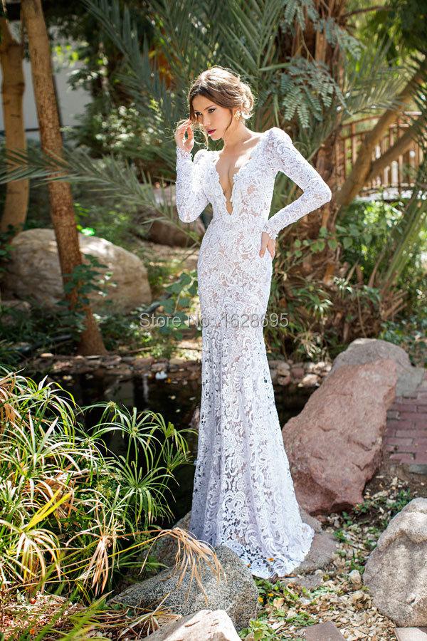 Wedding Dress 2014 Julie Vino Mermaid Dresses Deep V Neck See vestido de noiva Long Sleeve Floor Length - Customize & Event store