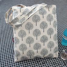 Handmade Cotone Lino Eco Riutilizzabili Shopping Bag Borsa A Tracolla Tote Alberi JR4(China (Mainland))