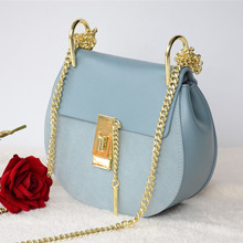 2016 Fashion Women First Layer Cowhide Chain Messenger Bag Designer Ladies Drew Real Genuine Leather Shoulder Bags Blue Pink