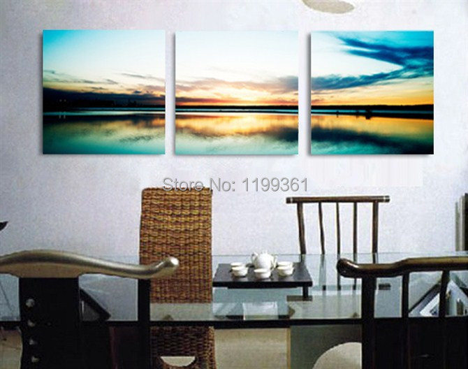 3 Piece Free Shipping Modern Wall Painting Beautiful Sunrise Living Room Home Decoration Art Picture Paint on Canvas Prints(China (Mainland))