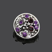 5pcs/lot Snap Jewelry Bracelet 18MM Charms Purple Flower Crystal Metal Snap Buttons Female Girls Rhinestone Snap Jewelry NZ237(China (Mainland))