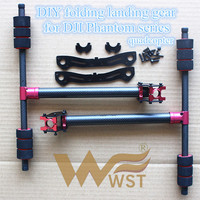 WST DIY Upgrade Carbon fiber folding landing gear with Aluminum tube clamp tee for DJI Phantom Series drones quadcopter