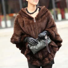 Knitted Genuine Mink Fur Shawl Wrap Cape women mink fur coat Wholesale retail free shipping EMS F-138(China (Mainland))