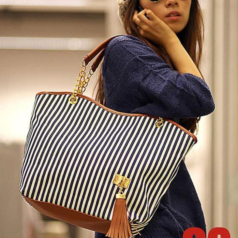 Summer Beach Bag Women Canvas Shoulder Bag Fringe Stripe Handbags Street Snap Candid Casual Bolsos For Shopping(China (Mainland))