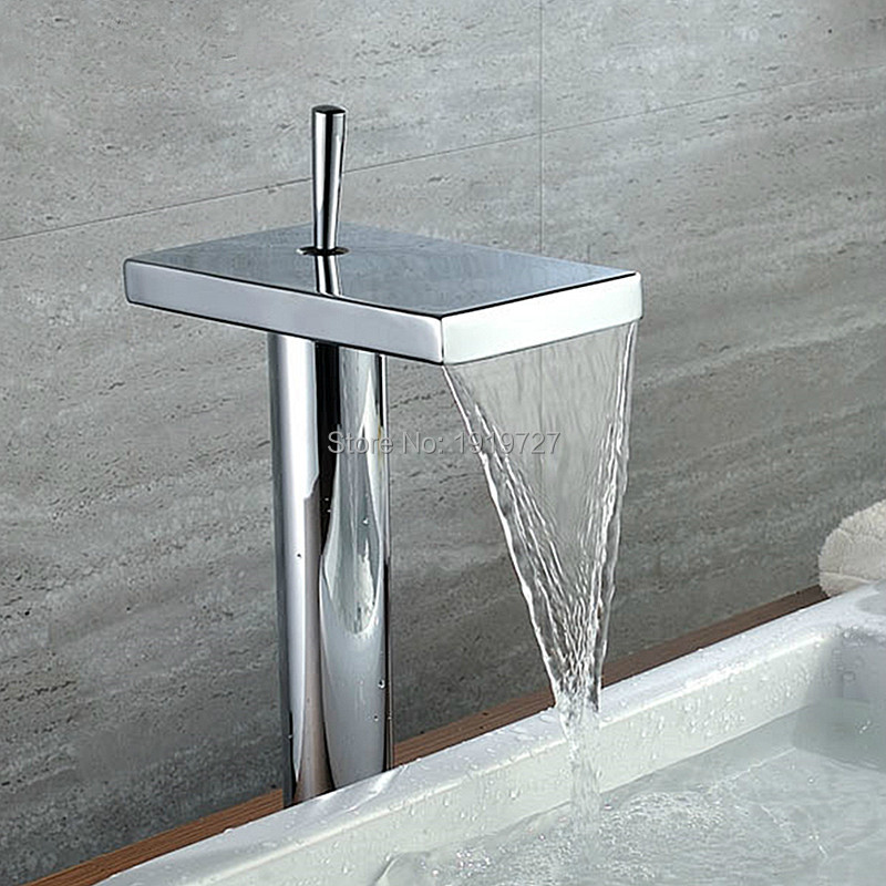 Newly Modern Style Solid Brass Hot And Cold Water Waterfall Spout Basin Mixer Tap Chrome Finish Bathroom Tall Vessel Faucets(China (Mainland))