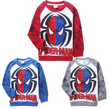 Freeshopping 1pcs Winter Warm Cartoon Spiderman Clothes for Boys Thickening Cotton Fleece Children Sweatshirt Retail(China (Mainland))
