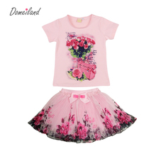 2017 fashion summer children clothing sets kids girl boutique outfits print floral short sleeve cotton tops skirt suits clothes(China (Mainland))