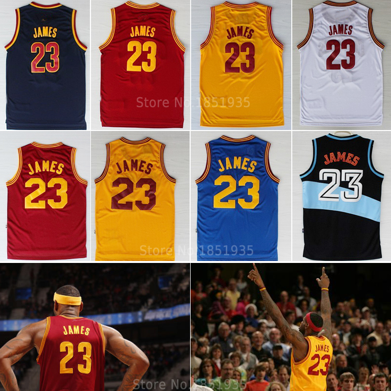 Гаджет  Free shipping cavs 23# lebron james jersey throwback retro home away shirts navy blue orange white wine red stitched size:s-xxl None Спорт и развлечения