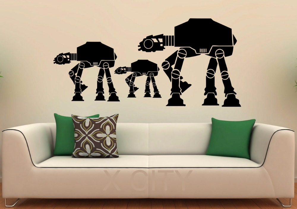 Walkers AT-AT Decal Vinyl Stickers Star Wars Home Interior Art Design Nursery Children Kids Room Murals Bedroom Wall Decor(China (Mainland))