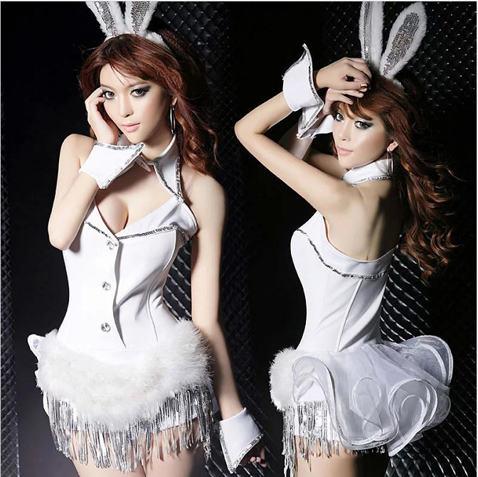 2015 Free Shipping Holiday Bunny Girl Cosplay Stage Dance Wear White Bodysuit Sexy Tassel Girl Suit CostumeОдежда и ак�е��уары<br><br><br>Aliexpress
