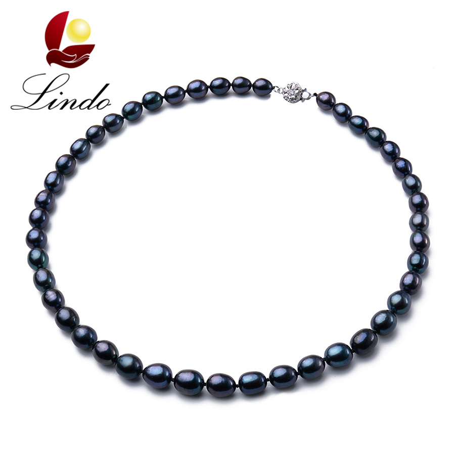 Vintage High Quality Black 100% Natural Freshwater Pearl Women Necklace 2017 Fashion 925 Sterling Silver Jewelry Gift For Mother(China (Mainland))