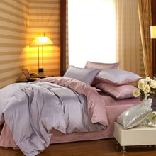 Pink grey color  1200 Thread count 100%  long-staple cotton  4 pieces set bedding set King queen size  princess style customize(China (Mainland))