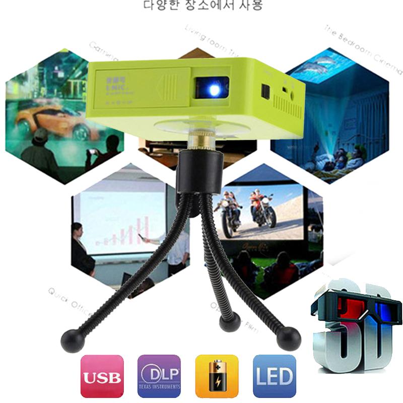 Оригинальный УНИК UC50 микро-портативных DLP светодиодный проектор мини-проектор для домашнего кинотеатра 800lumens батареи Строени-в с USB памяти SD AV и HDMI для
