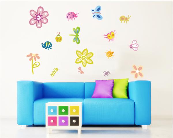 Lib lula linda mariposa flores extra ble wall decals for Mural de flores y mariposas