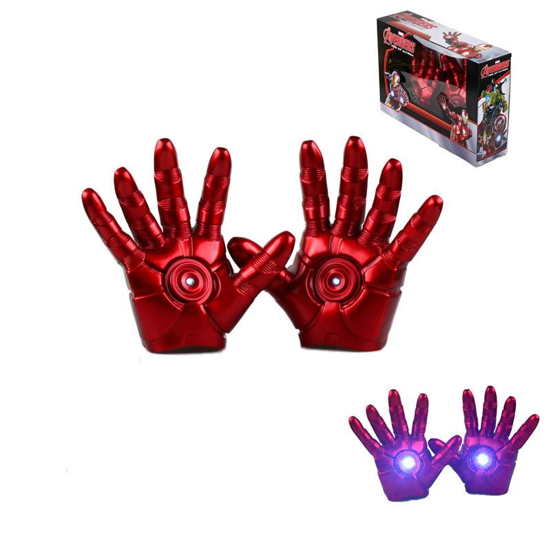 The Avengers Superhero Iron Man Mark 3 Gloves with LED Light PVC Action Figure Toy Free shipping KB0143