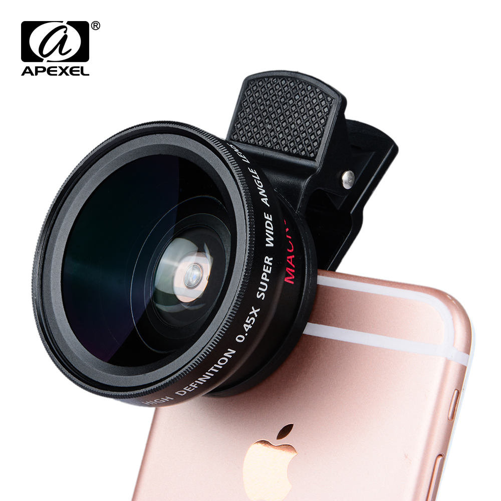 0.45x Super Wide Angle & 12.5x Super Macro Lens Professional HD Camera Lens for iPhone 6s/6s Plus /5 Xiaomi Samsung APL-0.45WM(China (Mainland))