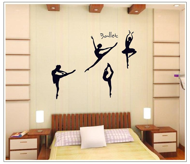 PVC transparent film ballet Wall Stickers Bedroom living room sofa TV background Dance Room Decor DIY decals wall art(China (Mainland))