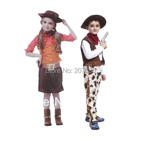 Fancy dress Children's western cowboy clothing Halloween Christmas party Cosplay costume Cowgirl dresses(China (Mainland))