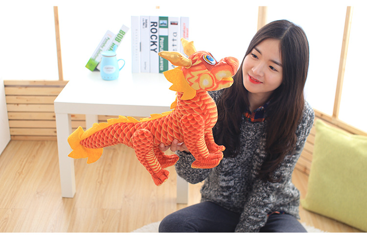 middle lovely plush chinese dragon toy tranditional red Chinese dragondoll gift about 60cm(China (Mainland))