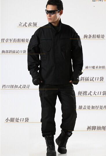 Black camouflage combat uniforms suits training uniform camouflage military uniform pants and jacket S-XXL<br><br>Aliexpress