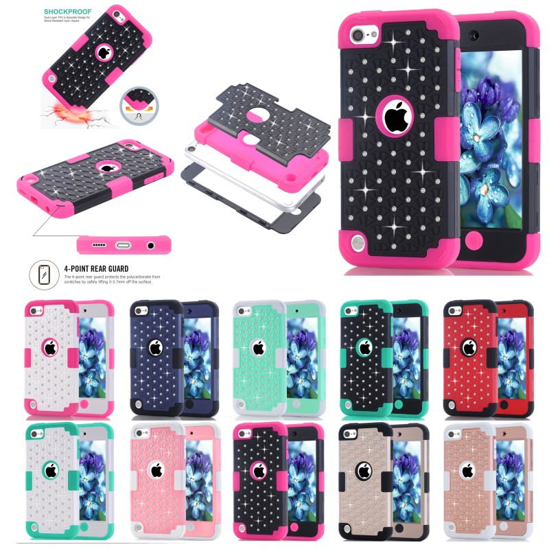 Brilliant Diamond Coque For Apple iPod Touch 5 Touch 5 Phone Cases Hybrid 3 in 1 Hard PC Silicone Combo Back Cover Accessories(China (Mainland))