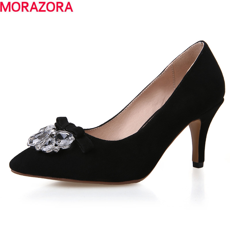 new 2016 fashion high quality genuine leather shoes woman stiletto high heels pointed toe solid black women pumps<br><br>Aliexpress