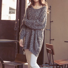 6 Colors 2015 New Fashion Autumn Winter Women Oversized Batwing Sleeves O-Neck Tops Loose Outwear Pullovers Knitted Sweater