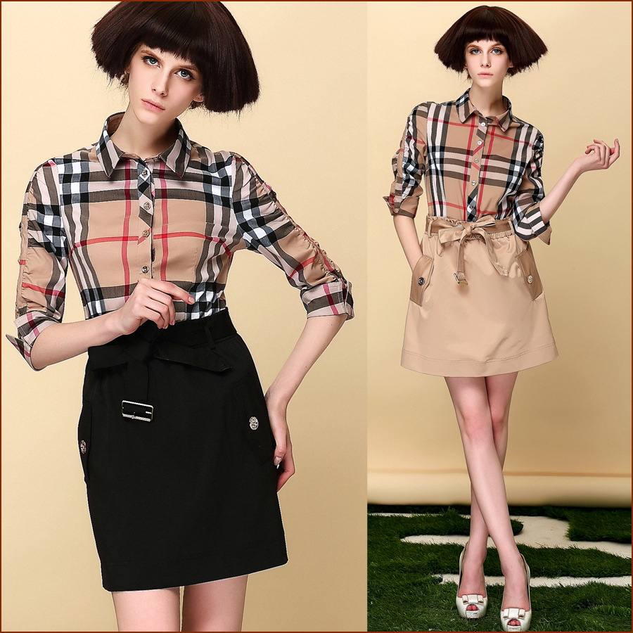 Europe stands fashion ladys' wear the moral culture show thin OL lattice Gao Yao summer clothes one-piece dress 2015(China (Mainland))