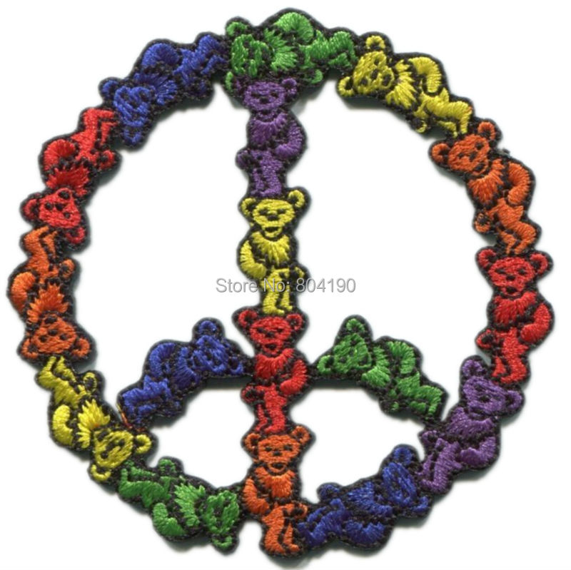"""3"""" GRATEFUL DEAD bears peace sign Logo Music Band Embroidered IRON ON Patch Rock Punk Heavy Metal free shipping(China (Mainland))"""