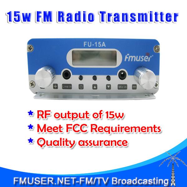 New! FMUSER FU-15A 15W stereo PLL FM transmitter broadcaster FM transponder FM transmiter(China (Mainland))
