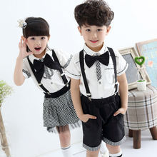 2015 new arrival high quality handmade plaid girl and cowboy baby bib shirt set two pieces clothing with bowtie unique design(China (Mainland))