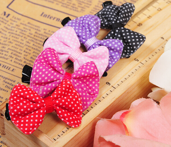 30pcs dogs cats fashion dot bowknot hairpin pet dog cat accessories doggy cute headdress puppy apparel pets products grooming(China (Mainland))