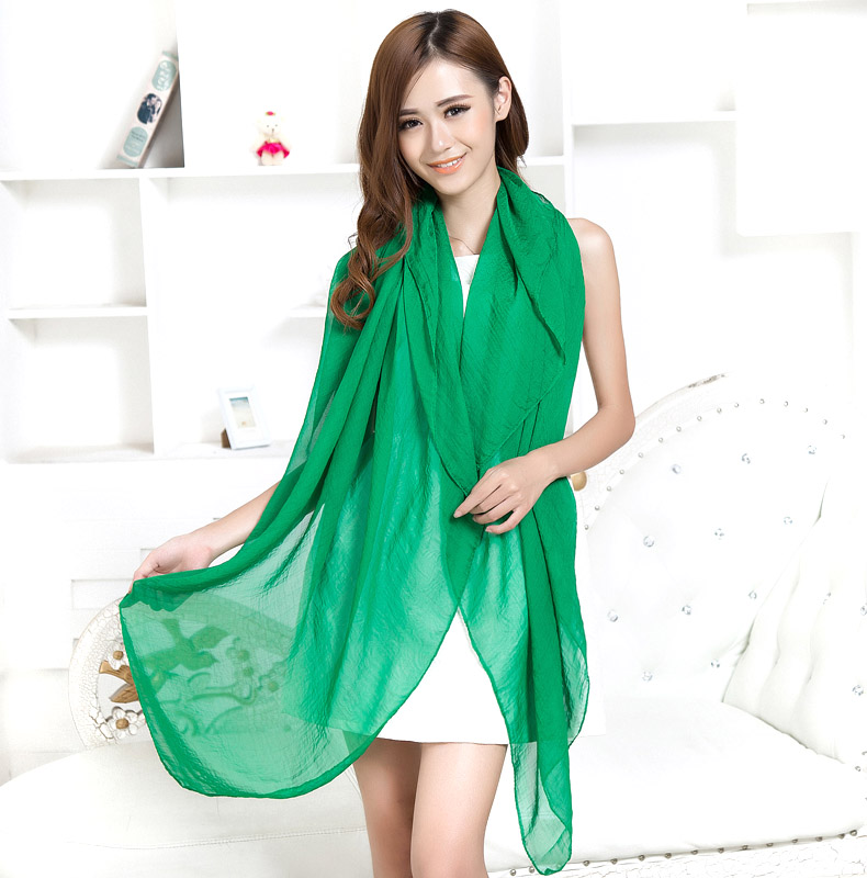 Silk scarf female 2015 summer chiffon solid color silk scarf ultralarge spring and autumn women's solid color scarf beach towel(China (Mainland))