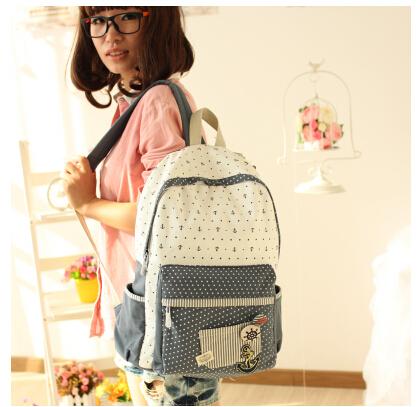 Girls backpack female polka dot canvas bag fresh shoulder bag,students backpack,fashion preppy style travel laptop knapsack(China (Mainland))