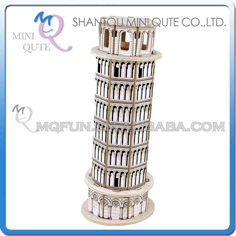 Mini Qute 3D Wooden Puzzle Leaning Tower of Pisa world architecture famous building Adult model educational toy gift NO.MJ212(China (Mainland))
