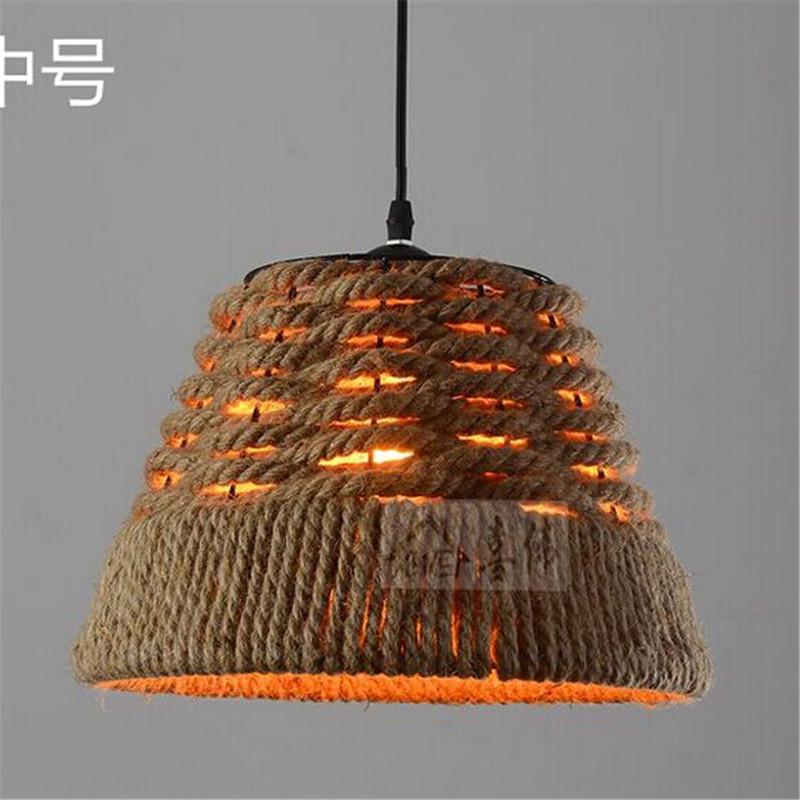 Vintage Industrial Hemp Rope Rattan Pendant Light Hanging Lamp Deco Loft Fixture For Living Dining Room Kitchen Cafe Restaurant<br><br>Aliexpress