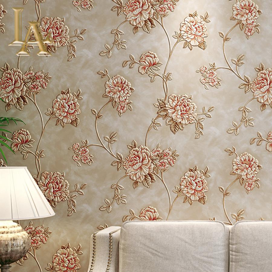 High Quality Deep Embossed European 3d Flower Wallpaper Vinyl Living Room Sofa Wall Decor