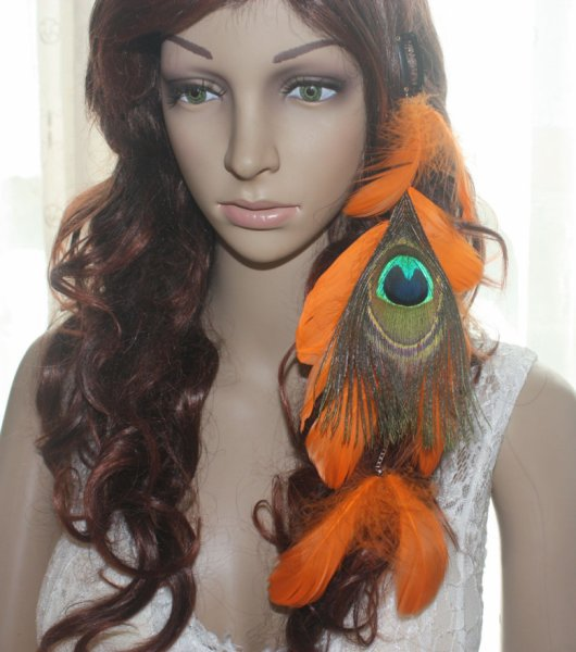 1 Piece 19B3-32Peacock Orange Feather Hair Extension Hair Clip Jewelry Lhf140730(China (Mainland))