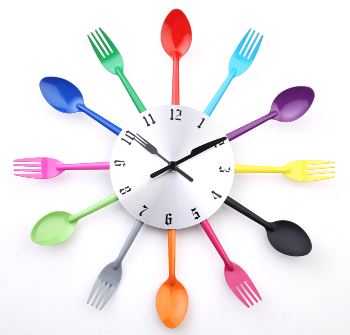 A003 DIY modern New 2014 design wall clock Knife Fork Spoon clocks Kitchen kinves home decoration - Artful store