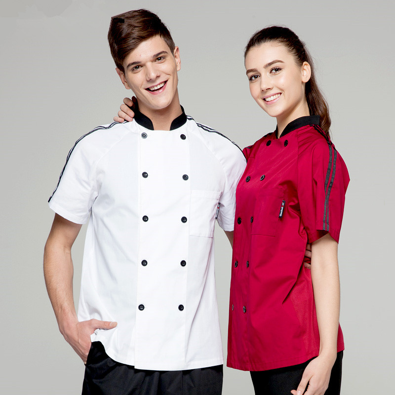 (5 get 20% off,10 get apron)Man/woman chef uniform chef clothes wine red/white short sleeve restaurant hotel kitchen coverall(China (Mainland))