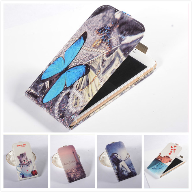 For InFocus M808 Vertical Case,Fashion Printed Blue Butterfly & Cat Love Fish Flip Leather Mobile Phone Case(China (Mainland))