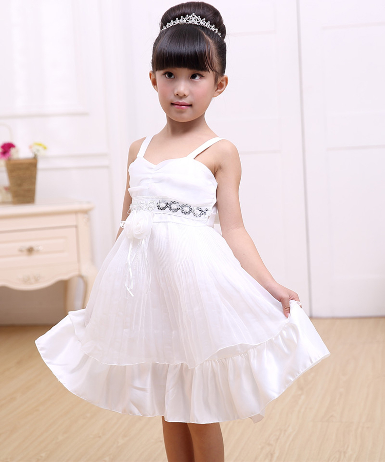 white wedding wear chiffon soft summer beautiful cute 3-5 year old children baby girl party dress children frocks designs(China (Mainland))