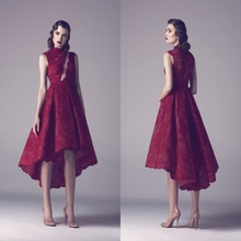 Dark Red Lace High Neck High Low Prom Dresses 2015 Dubai Fashion Vintage Party Gowns Sexy Cutout Front Formal Gowns  HY089(China (Mainland))