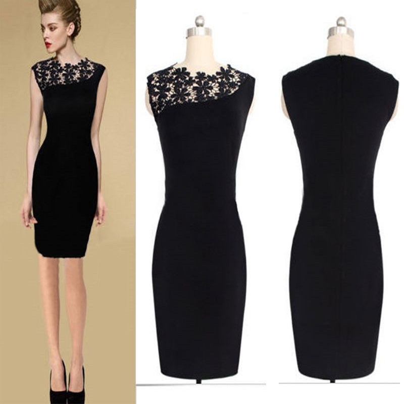 2015 NEW summer black Sexy Womens Stretch Cocktail Party casual lace dress Slim Bodycon Pencil Dress large size(China (Mainland))