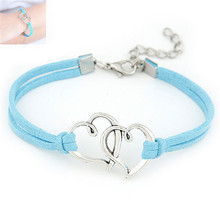 Durable 1Pcs Women Love Heart Handmade Alloy Rope Charm Chain Jewelry Weave Bracelet Gift(China (Mainland))