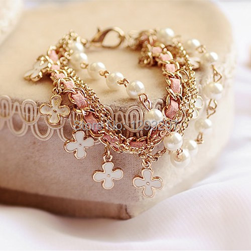 Fashion Korean Style White Pearl Clover Bracelet Leather Rope Bracelet Jewelry hot sales in 2013 for girls zI2c(China (Mainland))